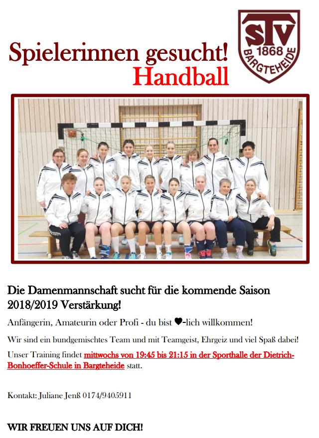 Damen suchen Verstärkung - Handball-Bargteheide